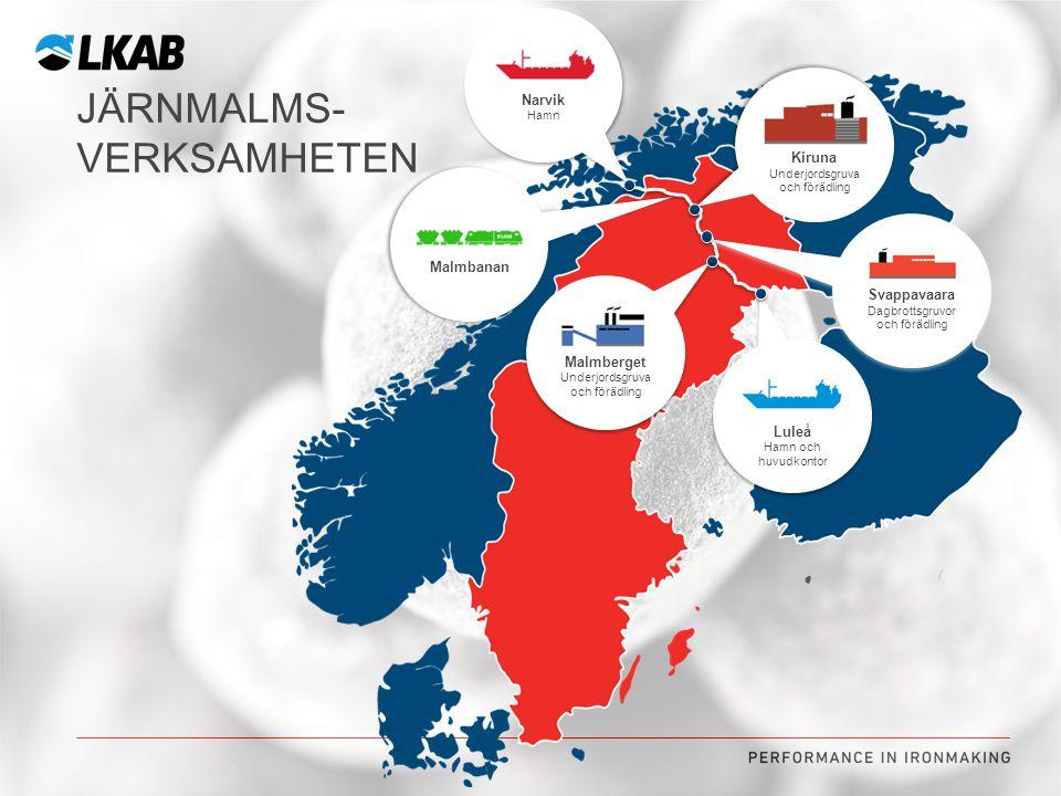 JÄRNMALMS- VERKSAMHETEN Kiruna Underjordsgruva och förädling Kiruna Underjordsgruva och förädling Malmberget Underjordsgruva och förädling Malmberget