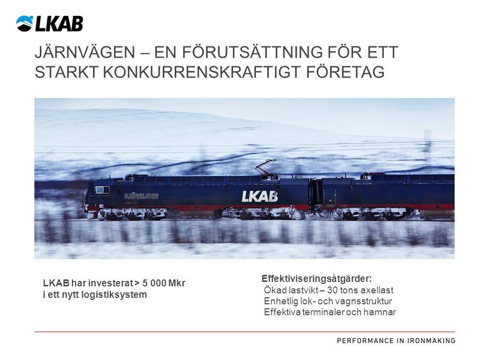 JÄRNVÄGEN – EN FÖRUTSÄTTNING FÖR ETT STARKT KONKURRENSKRAFTIGT FÖRETAG Effektiviseringsåtgärder: Ökad lastvikt – 30 tons axellast Enhetlig lok- och va