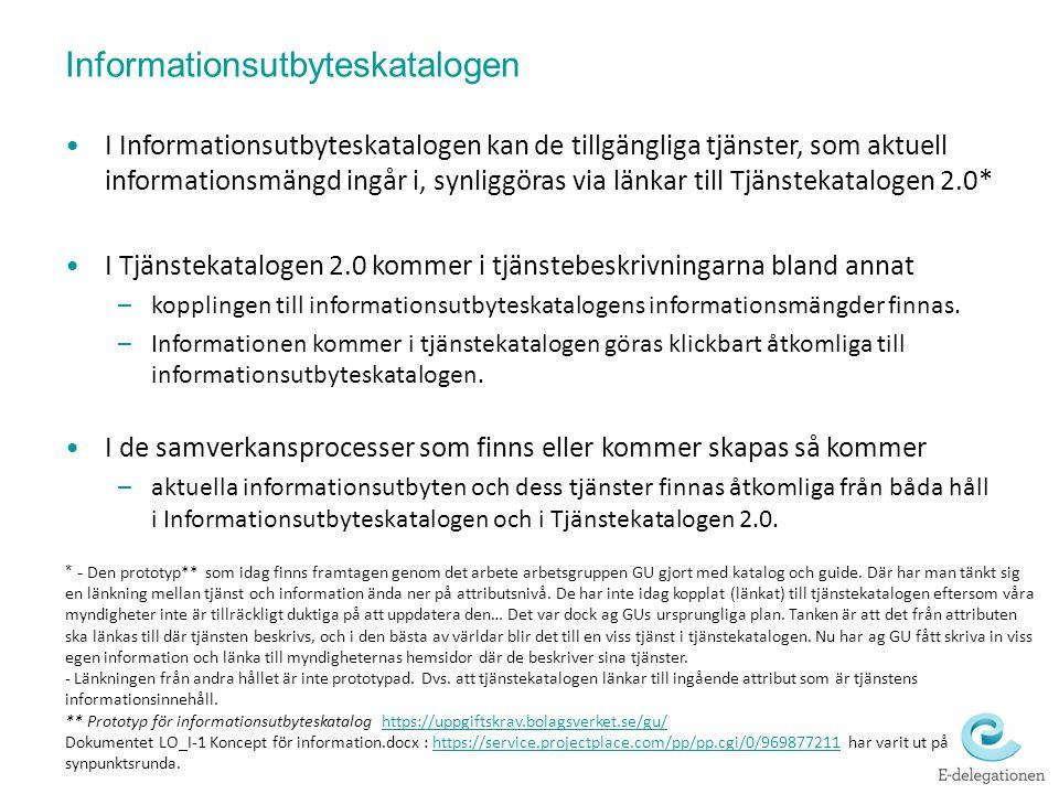 I Informationsutbyteskatalogen kan de tillgängliga tjänster, som aktuell informationsmängd ingår i, synliggöras via länkar till Tjänstekatalogen 2.0*