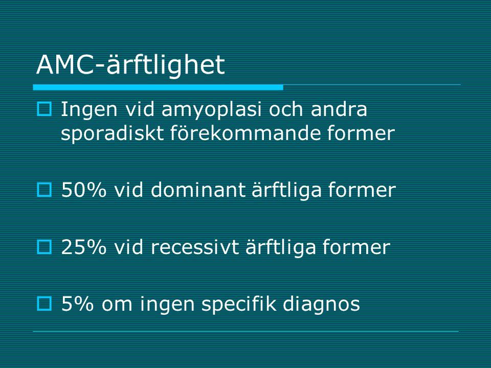AMC-ärftlighet  Ingen vid amyoplasi och andra sporadiskt förekommande former  50% vid dominant ärftliga former  25% vid recessivt ärftliga former 