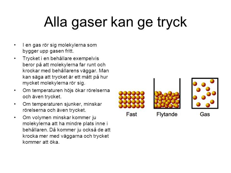Alla gaser kan ge tryck I en gas rör sig molekylerna som bygger upp gasen fritt. Trycket i en behållare exempelvis beror på att molekylerna far runt o