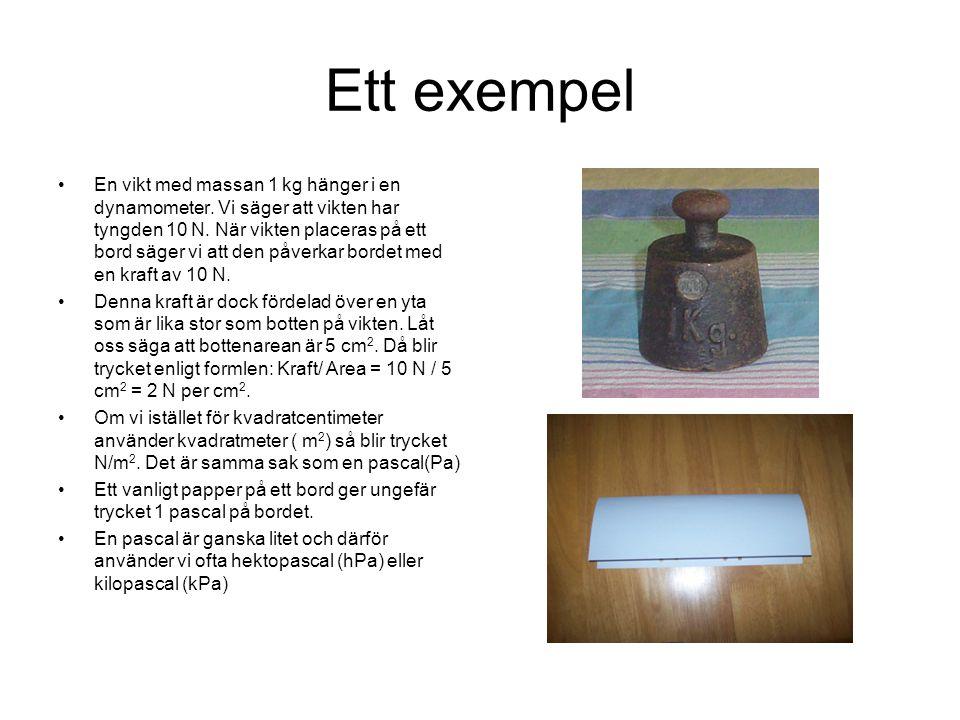 Ett exempel En vikt med massan 1 kg hänger i en dynamometer. Vi säger att vikten har tyngden 10 N. När vikten placeras på ett bord säger vi att den på