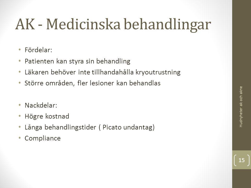 AK - Medicinska behandlingar Fördelar: Patienten kan styra sin behandling Läkaren behöver inte tillhandahålla kryoutrustning Större områden, fler lesi