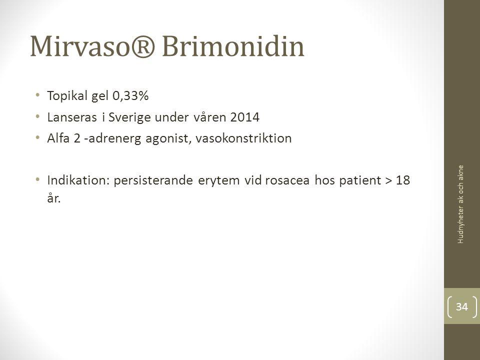 Mirvaso® Brimonidin Topikal gel 0,33% Lanseras i Sverige under våren 2014 Alfa 2 -adrenerg agonist, vasokonstriktion Indikation: persisterande erytem