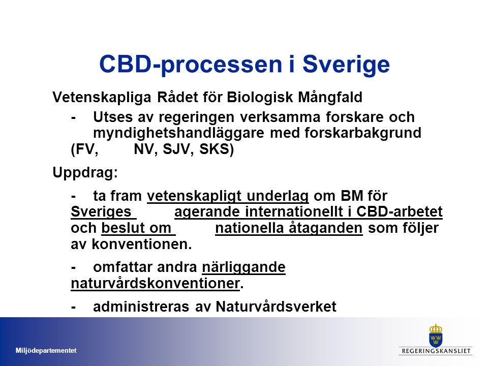 Miljödepartementet CBD-processen i Sverige Nätverk med tematiska fokalpunkter (TFP) Utses av Miljödepartementet i samråd med myndigheter och lärosäten CBD -bred konvention -behov av en tydligare fördelning i syfte att underlätta implementeringen.