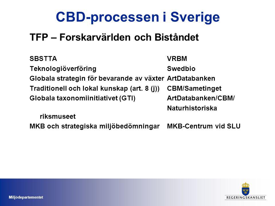 Miljödepartementet CBD-processen i Sverige Vad saknas i TFP nätverket -ABS - Tillträde till genetiska resurser och en rättvis fördelning av vinster från dessa resurser -Horisontell fråga – ingen tydlig hemvist hos sektorsmyndighet -Mycket viktig för ett långsiktigt bevarande av BM