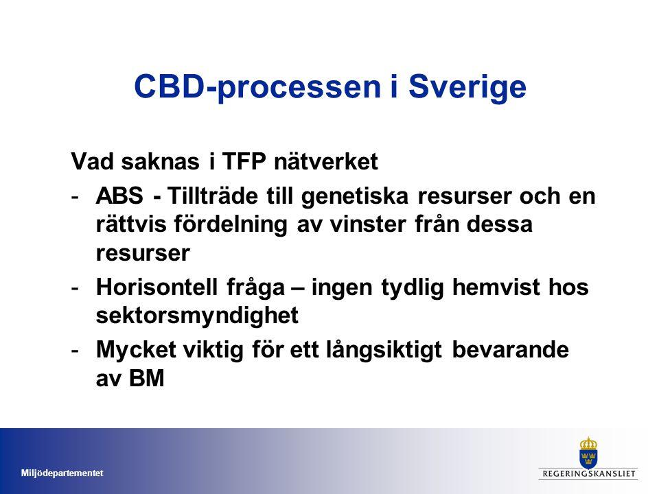 Miljödepartementet CBD i Miljömålsarbetet Miljömålsarbetet ger långsiktighet i BM-arbetet Viktigt för genomförandet av CBD (och andra internationella åtaganden) i Sverige -Ett rikt Växt och Djurliv - 2010 målet (ode) -Åtgärdsprogram för skydd av naturmiljöer, ekosystem och hotade arter – blir en del av det långsiktiga naturvårdsarbetet