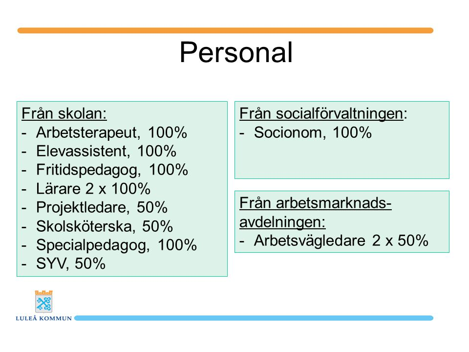 Personal Från skolan: -Arbetsterapeut, 100% -Elevassistent, 100% -Fritidspedagog, 100% -Lärare 2 x 100% -Projektledare, 50% -Skolsköterska, 50% -Speci