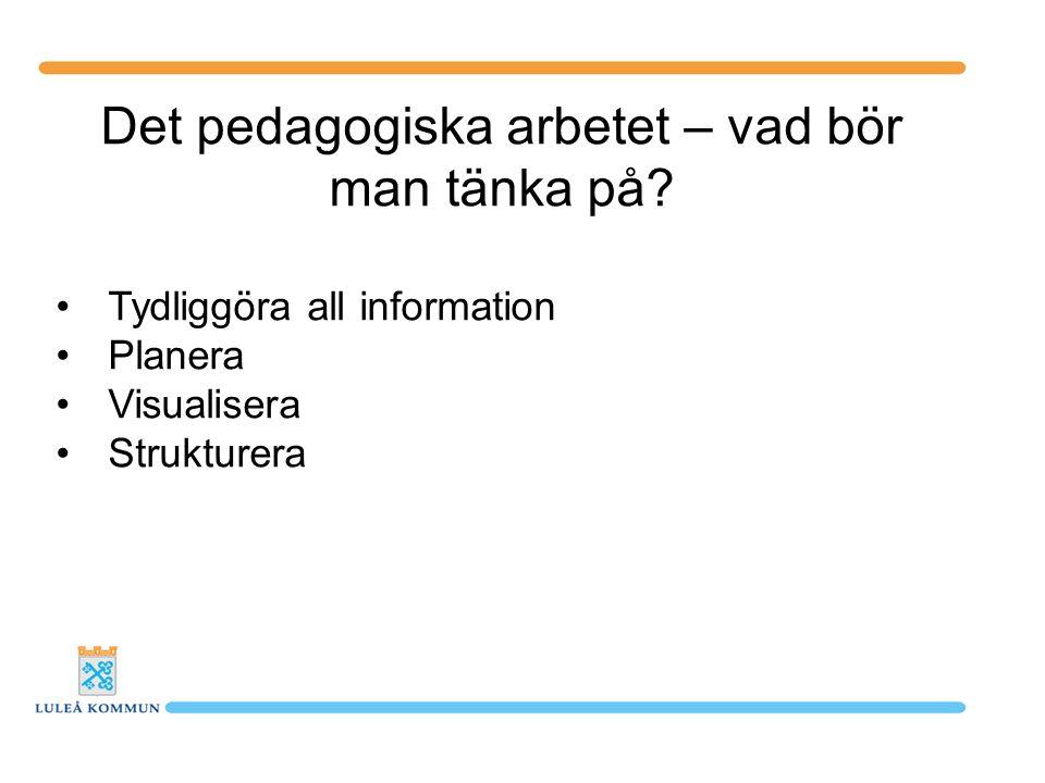Det pedagogiska arbetet – vad bör man tänka på? Tydliggöra all information Planera Visualisera Strukturera