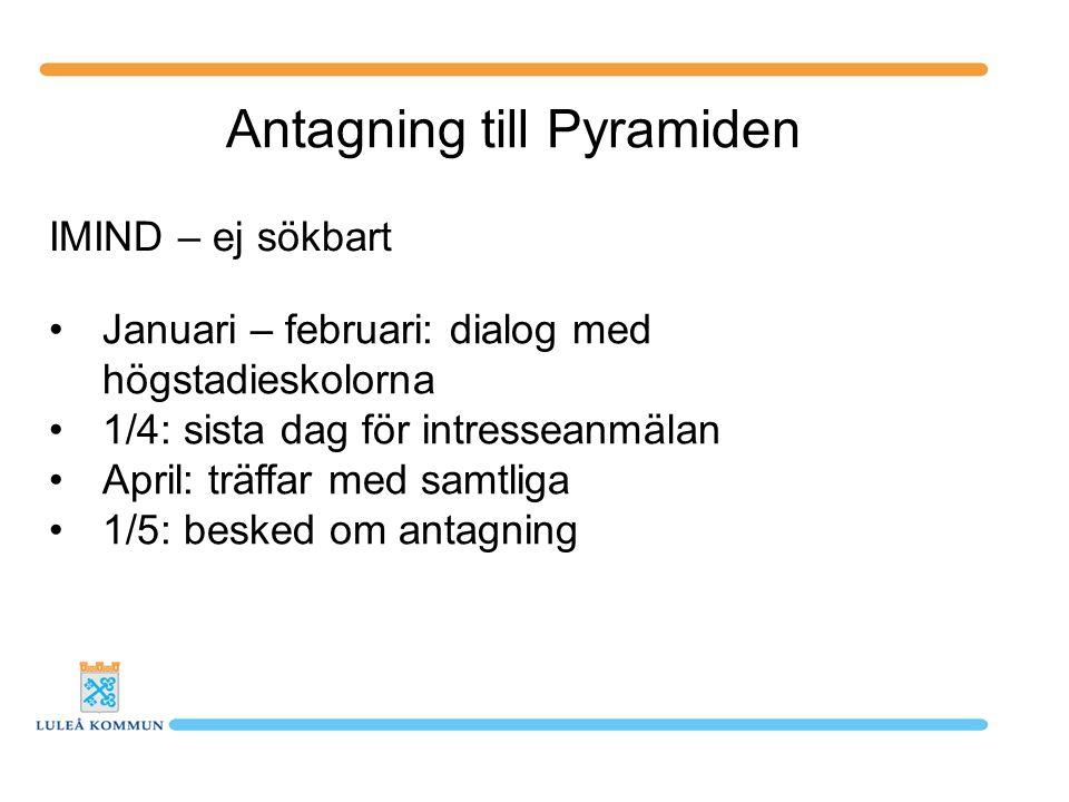 Antagning till Pyramiden IMIND – ej sökbart Januari – februari: dialog med högstadieskolorna 1/4: sista dag för intresseanmälan April: träffar med sam