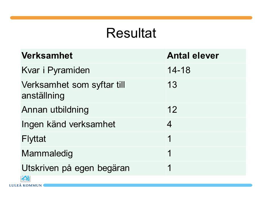 Resultat VerksamhetAntal elever Kvar i Pyramiden14-18 Verksamhet som syftar till anställning 13 Annan utbildning12 Ingen känd verksamhet4 Flyttat1 Mam
