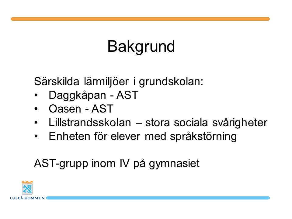Bakgrund Särskilda lärmiljöer i grundskolan: Daggkåpan - AST Oasen - AST Lillstrandsskolan – stora sociala svårigheter Enheten för elever med språkstö