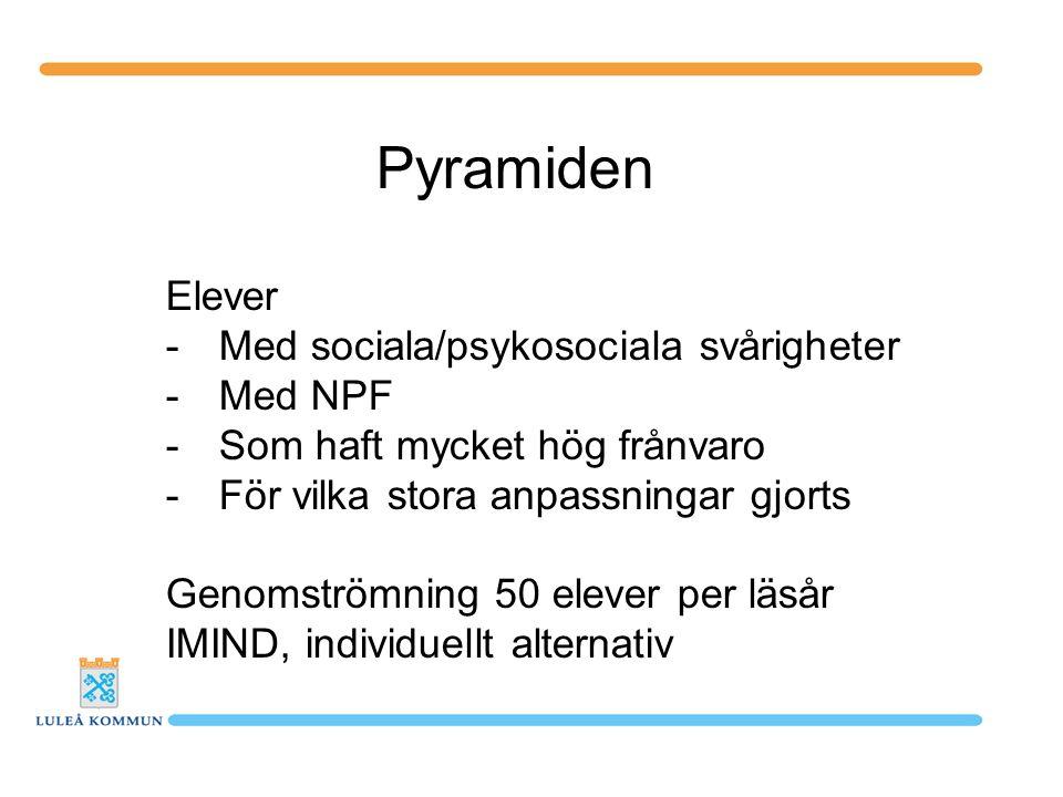 Pyramiden Elever -Med sociala/psykosociala svårigheter -Med NPF -Som haft mycket hög frånvaro -För vilka stora anpassningar gjorts Genomströmning 50 e