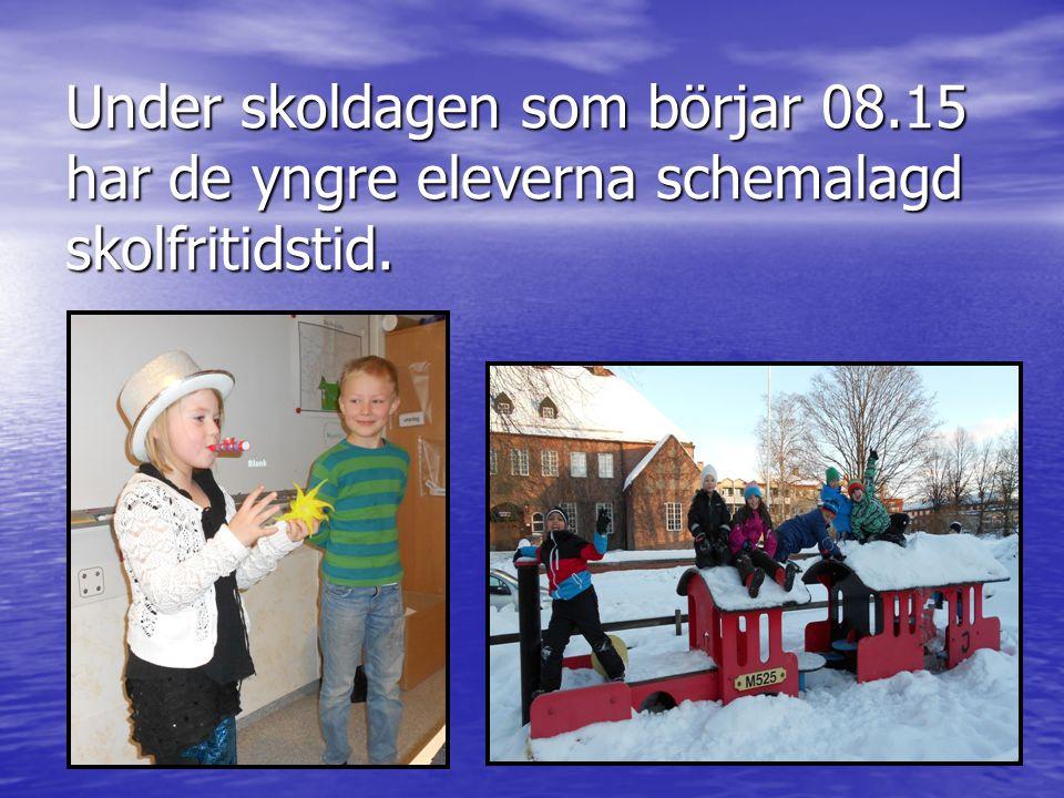 Under skoldagen som börjar 08.15 har de yngre eleverna schemalagd skolfritidstid.