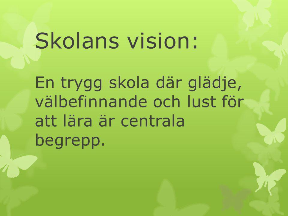 Skolans vision: En trygg skola där glädje, välbefinnande och lust för att lära är centrala begrepp.