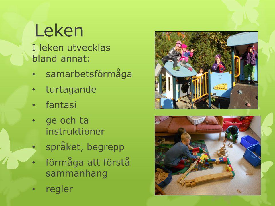 Leken I leken utvecklas bland annat: samarbetsförmåga turtagande fantasi ge och ta instruktioner språket, begrepp förmåga att förstå sammanhang regler