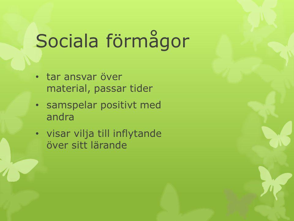Förskoleklassen arbetar med de sociala förmågorna genom: att arbeta med känslor kompissamtal Islandsmodellen gemensamma förhållningsregler ett gott samarbete med hemmen att synliggöra elevernas förmåga och utveckling fadderverksamhet