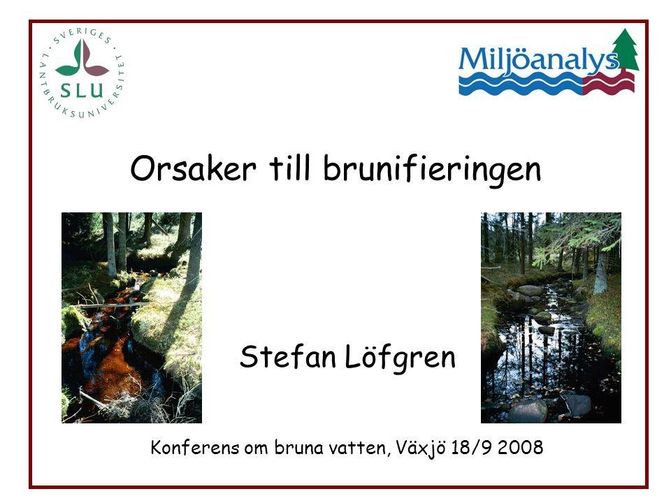 Orsaker till brunifieringen Stefan Löfgren Konferens om bruna vatten, Växjö 18/9 2008