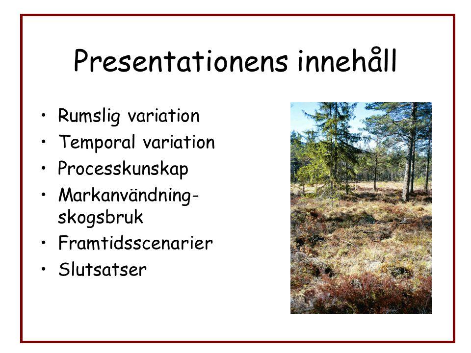Presentationens innehåll Rumslig variation Temporal variation Processkunskap Markanvändning- skogsbruk Framtidsscenarier Slutsatser