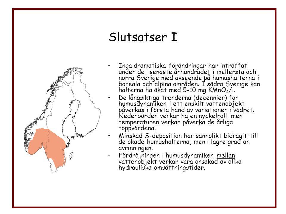 Slutsatser I Inga dramatiska förändringar har inträffat under det senaste århundradet i mellersta och norra Sverige med avseende på humushalterna i bo