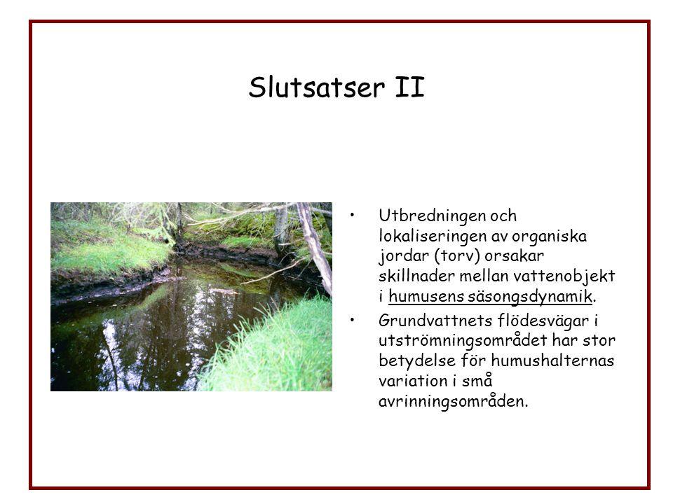 Slutsatser II Utbredningen och lokaliseringen av organiska jordar (torv) orsakar skillnader mellan vattenobjekt i humusens säsongsdynamik. Grundvattne