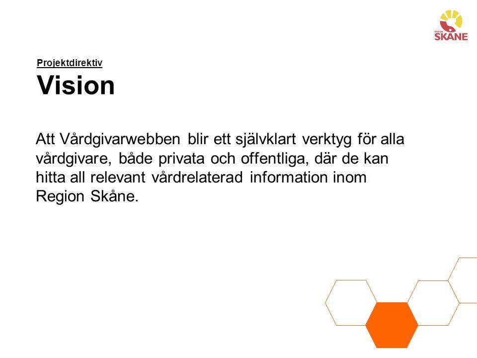 Projektdirektiv Syfte Region Skåne har informationsskyldighet till alla vårdgivare.