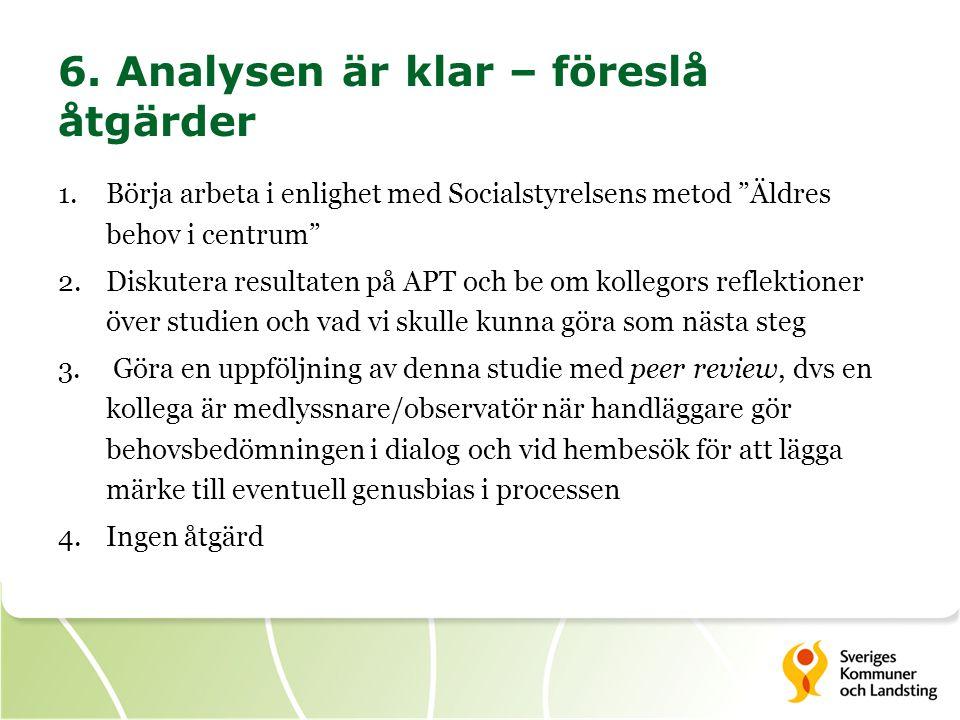 """6. Analysen är klar – föreslå åtgärder 1.Börja arbeta i enlighet med Socialstyrelsens metod """"Äldres behov i centrum"""" 2.Diskutera resultaten på APT och"""