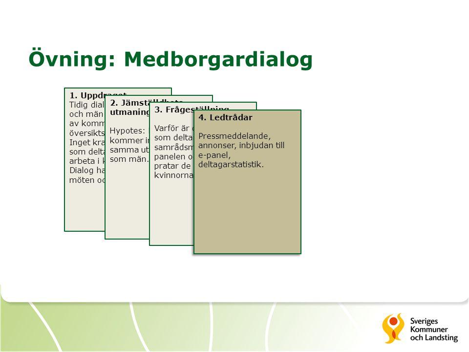 1. Uppdraget Tidig dialog med kvinnor och män inför revidering av kommunens översiktsplan. Inget krav på att de som deltar ska bo eller arbeta i kommu