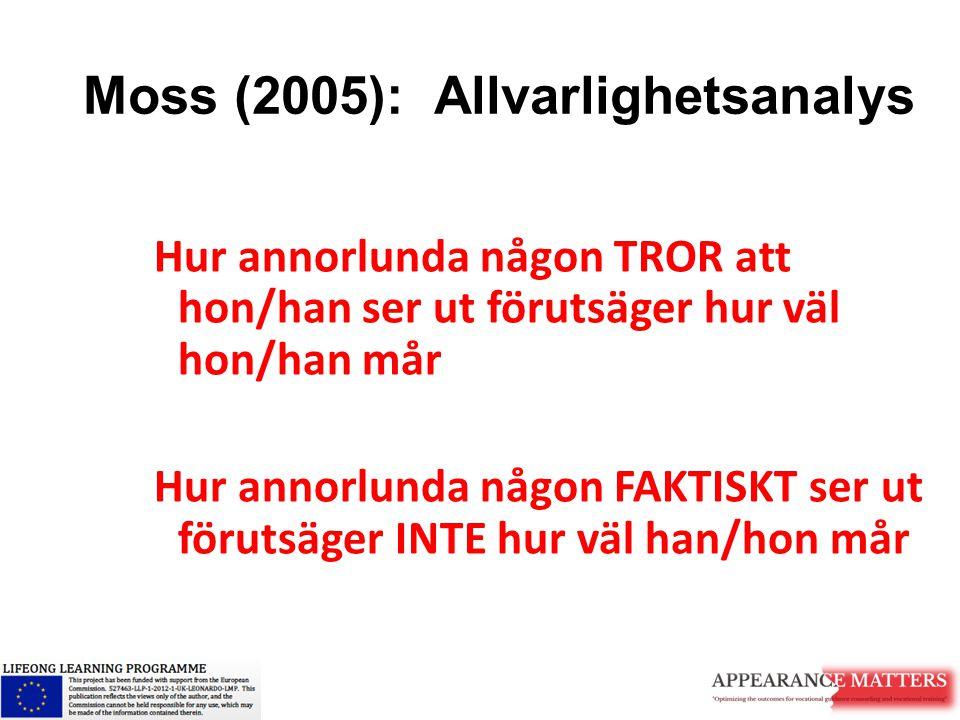 Moss (2005): Allvarlighetsanalys Hur annorlunda någon TROR att hon/han ser ut förutsäger hur väl hon/han mår Hur annorlunda någon FAKTISKT ser ut föru