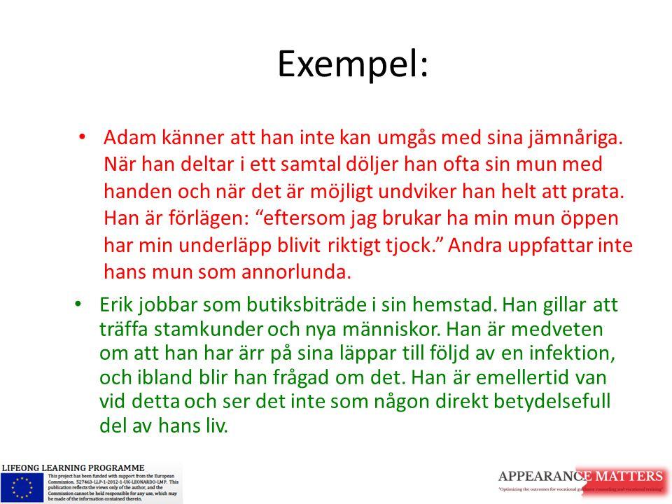 Exempel: Adam känner att han inte kan umgås med sina jämnåriga. När han deltar i ett samtal döljer han ofta sin mun med handen och när det är möjligt