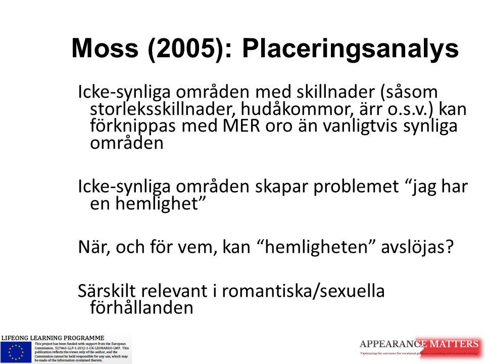 Moss (2005): Placeringsanalys Icke-synliga områden med skillnader (såsom storleksskillnader, hudåkommor, ärr o.s.v.) kan förknippas med MER oro än van