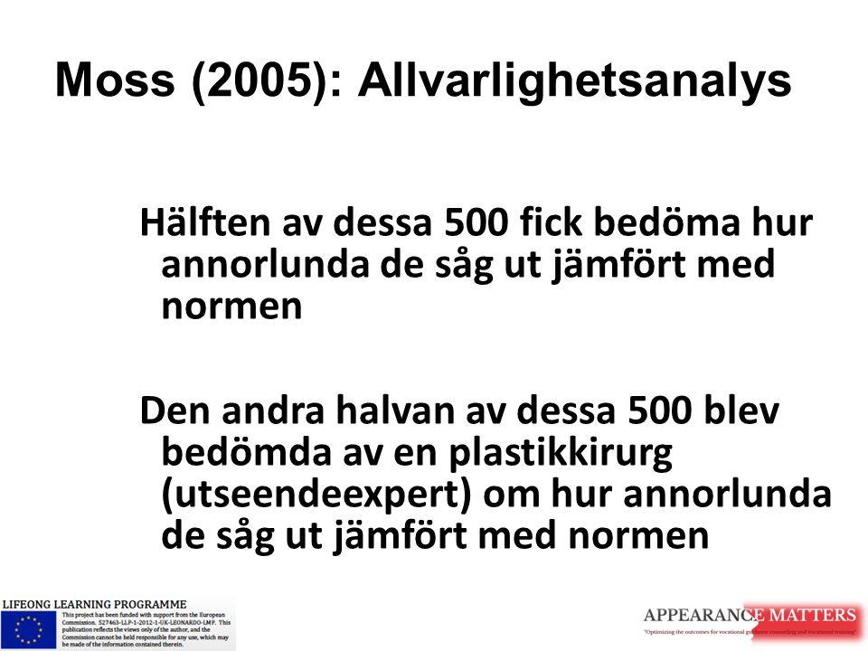 Moss (2005): Allvarlighetsanalys Hälften av dessa 500 fick bedöma hur annorlunda de såg ut jämfört med normen Den andra halvan av dessa 500 blev bedöm