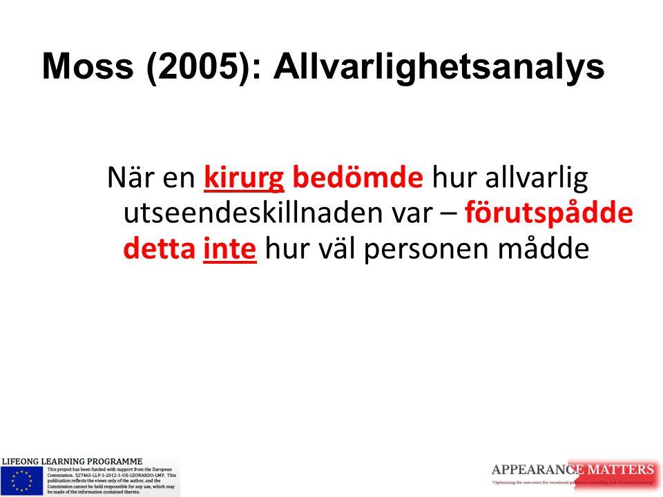 Moss (2005): Allvarlighetsanalys När en kirurg bedömde hur allvarlig utseendeskillnaden var – förutspådde detta inte hur väl personen mådde