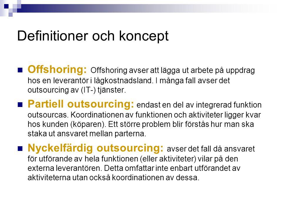 Definitioner och koncept Två typer av outsourcing: Nyckelfärdig (integrerad) outsourcing: ansvar för utförande och koordinering av hela funktionen (eller aktiviteter) vilar på den externa leverantören.
