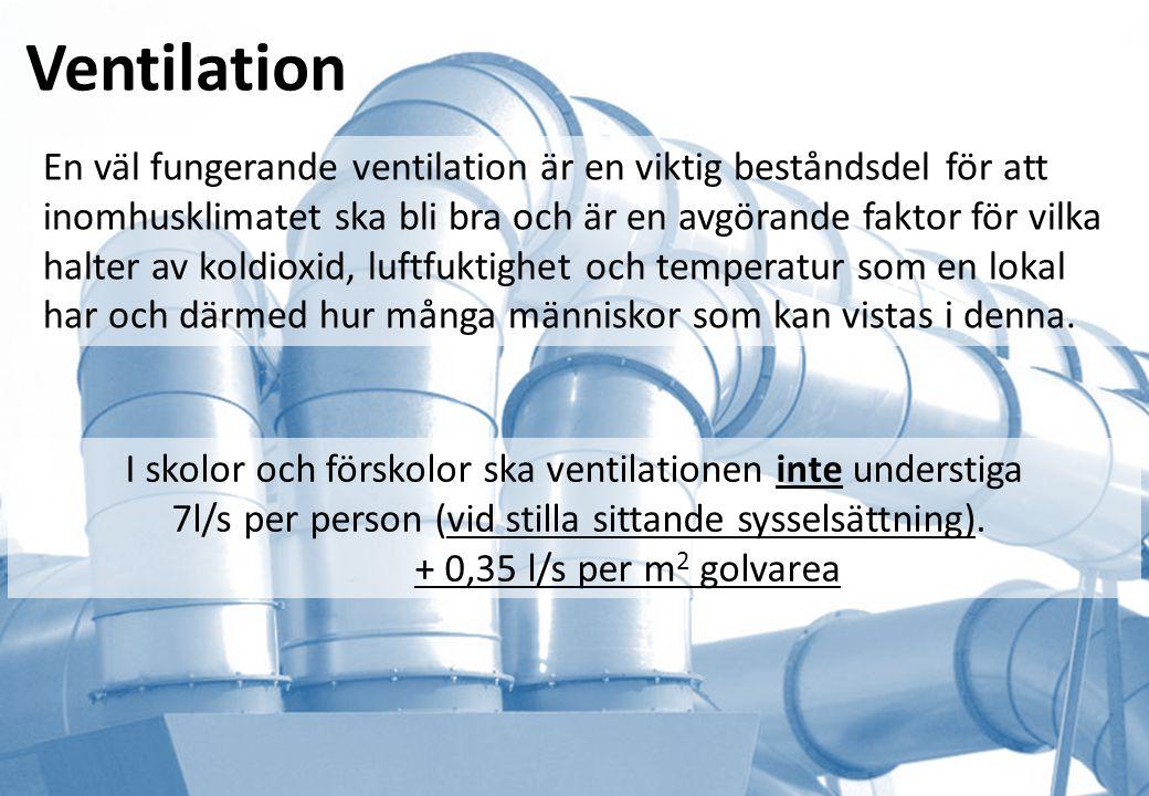 Ventilation En väl fungerande ventilation är en viktig beståndsdel för att inomhusklimatet ska bli bra och är en avgörande faktor för vilka halter av