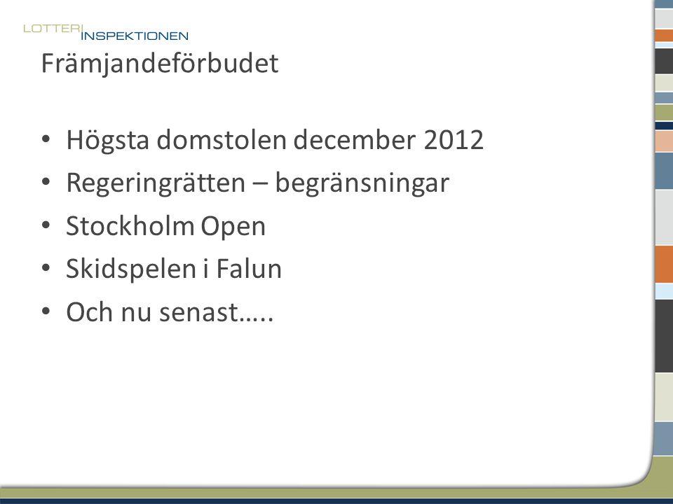 Främjandeförbudet Högsta domstolen december 2012 Regeringrätten – begränsningar Stockholm Open Skidspelen i Falun Och nu senast…..
