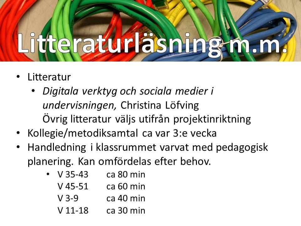 4 heldagar 10 juni 2013 ½ dag, em 15 aug 2013 ½ dag, em NorrLär 2013 heldag (2-4 oktober, valbara seminarier) Nov 2013½ dag, em + AW Mars 2014½ dag, e