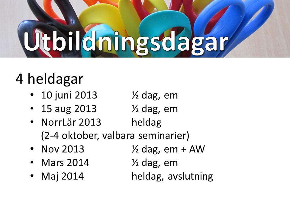 4 heldagar 10 juni 2013 ½ dag, em 15 aug 2013 ½ dag, em NorrLär 2013 heldag (2-4 oktober, valbara seminarier) Nov 2013½ dag, em + AW Mars 2014½ dag, em Maj 2014heldag, avslutning