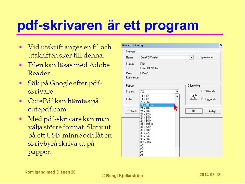 pdf-skrivaren är ett program  Vid utskrift anges en fil och utskriften sker till denna.  Filen kan läsas med Adobe Reader.  Sök på Google efter pdf