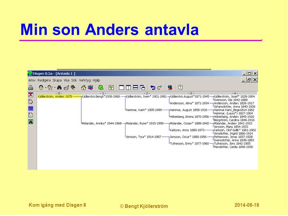 Min son Anders antavla Kom igång med Disgen 8 © Bengt Kjöllerström 2014-08-18