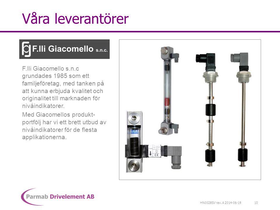 HN0028SV rev. A 2014-06-19 Våra leverantörer F.lli Giacomello s.n.c grundades 1985 som ett familjeföretag, med tanken på att kunna erbjuda kvalitet oc