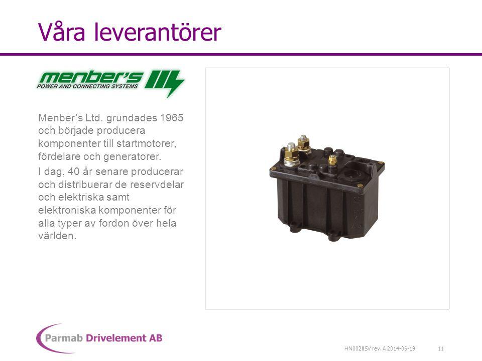 HN0028SV rev. A 2014-06-19 Våra leverantörer Menber's Ltd. grundades 1965 och började producera komponenter till startmotorer, fördelare och generator