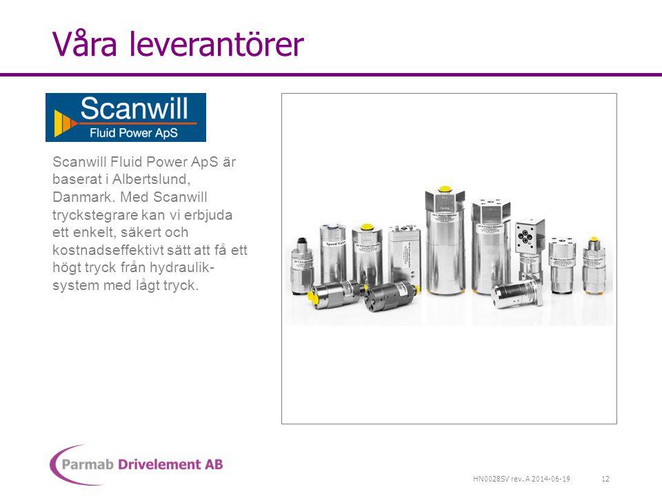 HN0028SV rev. A 2014-06-19 Våra leverantörer Scanwill Fluid Power ApS är baserat i Albertslund, Danmark. Med Scanwill tryckstegrare kan vi erbjuda ett