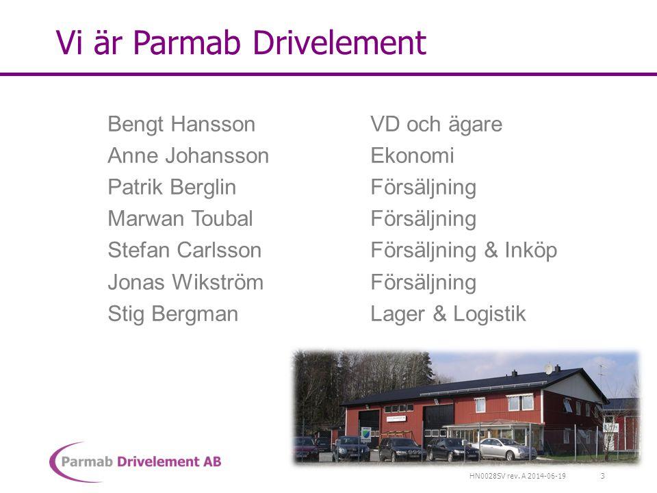 HN0028SV rev. A 2014-06-19 Vi är Parmab Drivelement Bengt HanssonVD och ägare Anne JohanssonEkonomi Patrik BerglinFörsäljning Marwan ToubalFörsäljning