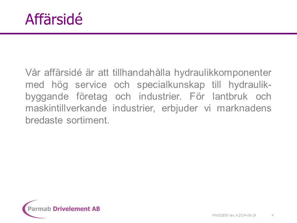 HN0028SV rev. A 2014-06-19 Affärsidé Vår affärsidé är att tillhandahålla hydraulikkomponenter med hög service och specialkunskap till hydraulik- bygga