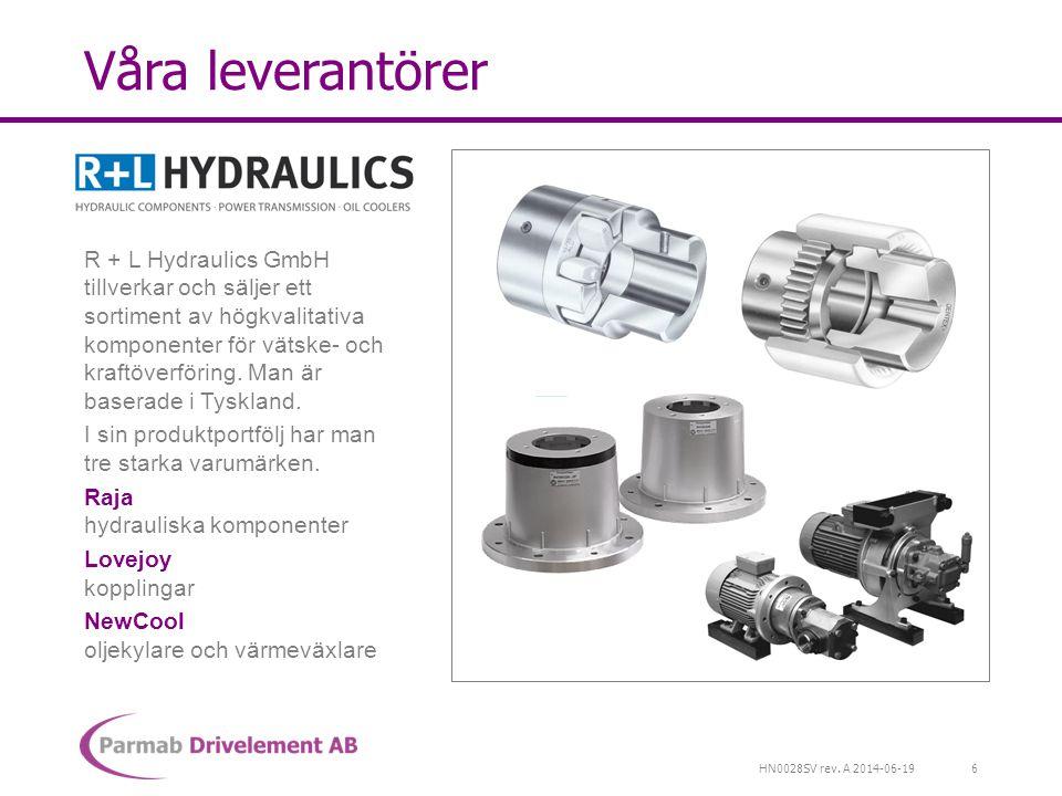 HN0028SV rev. A 2014-06-19 Våra leverantörer R + L Hydraulics GmbH tillverkar och säljer ett sortiment av högkvalitativa komponenter för vätske- och k
