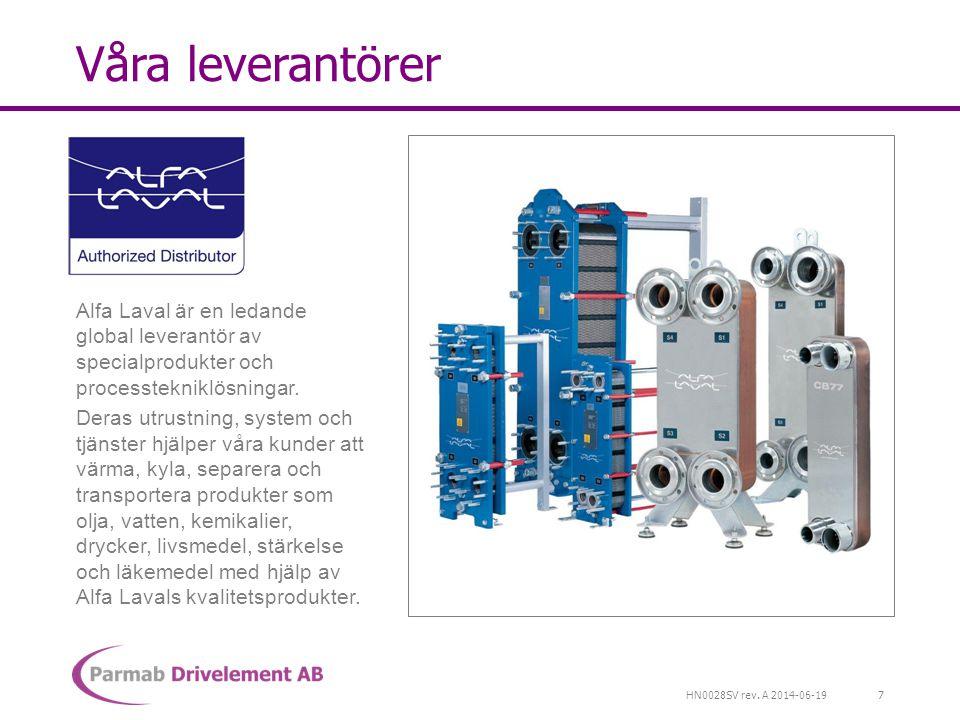 HN0028SV rev. A 2014-06-19 Våra leverantörer Alfa Laval är en ledande global leverantör av specialprodukter och processtekniklösningar. Deras utrustni