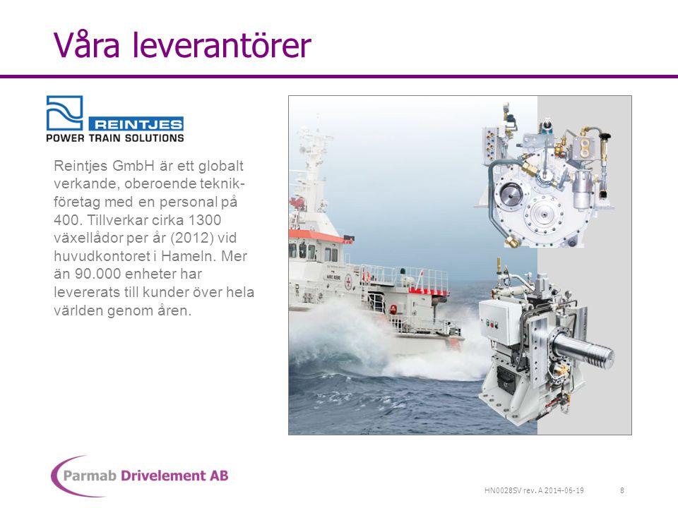 HN0028SV rev. A 2014-06-19 Våra leverantörer Reintjes GmbH är ett globalt verkande, oberoende teknik- företag med en personal på 400. Tillverkar cirka