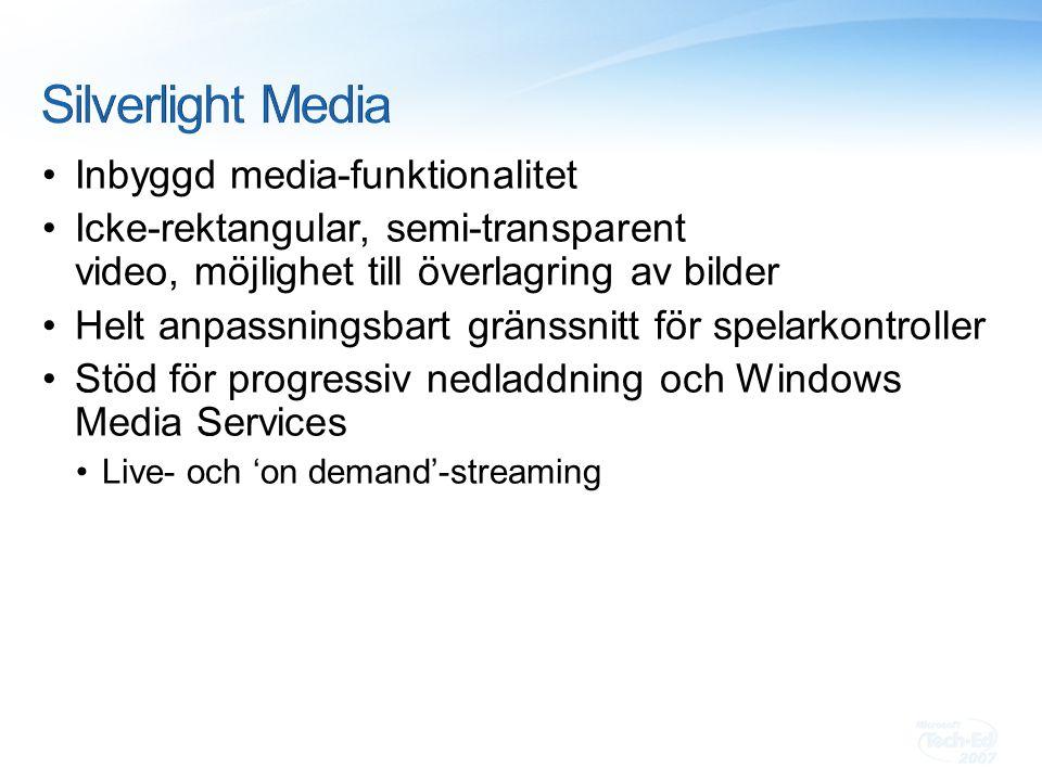 Inbyggd media-funktionalitet Icke-rektangular, semi-transparent video, möjlighet till överlagring av bilder Helt anpassningsbart gränssnitt för spelarkontroller Stöd för progressiv nedladdning och Windows Media Services Live- och 'on demand'-streaming