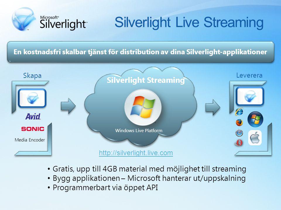 En kostnadsfri skalbar tjänst för distribution av dina Silverlight-applikationer Gratis, upp till 4GB material med möjlighet till streaming Bygg applikationen – Microsoft hanterar ut/uppskalning Programmerbart via öppet API Skapa Leverera Silverlight Streaming Windows Live Platform http://silverlight.live.com Silverlight Live Streaming Media Encoder